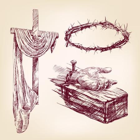cruz de jesus: colección cristianismo aislado dibujado a mano vector llustration