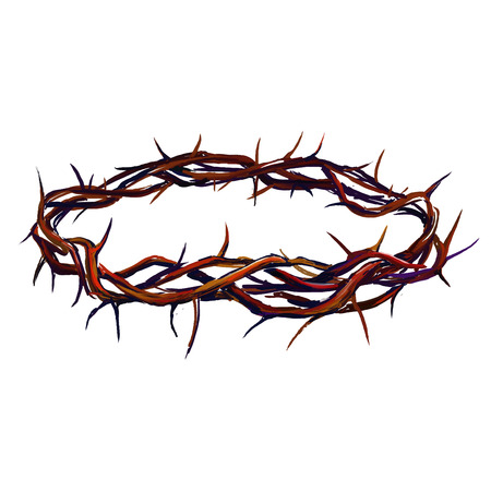 corona de espinas: corona de espinas ilustración vectorial dibujado a mano acuarela pintada Vectores