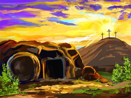tumbas: Ilustraci�n vectorial Pascua Jesucristo mano pintados drenados