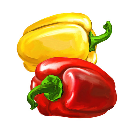 group peppers vector illustration  hand drawn  painted watercolor