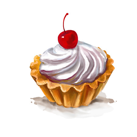 vanilla cupcake: Cherry cupcake vector illustration  hand drawn  painted watercolor Illustration