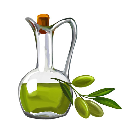 olive oil with olives vector illustration  hand drawn  painted watercolor