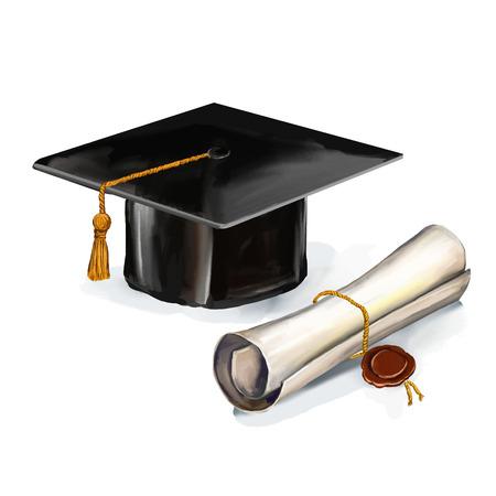 gorros de graduacion: casquillo de la graduación y diploma ilustración vectorial dibujado a mano watercol pintada Vectores