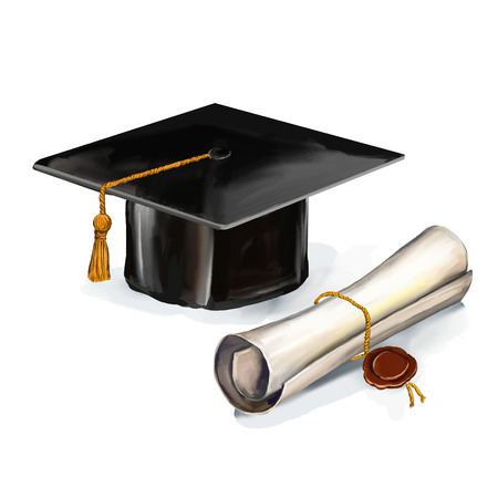 rolled scroll: graduation cap and diploma vector illustration  hand drawn  painted watercol