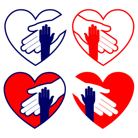 hand in hand: hand helping in heart collection vector illustration