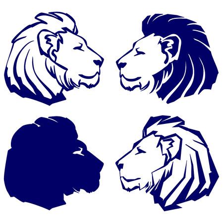 lev ikona kolekce skica kreslený vektorové ilustrace