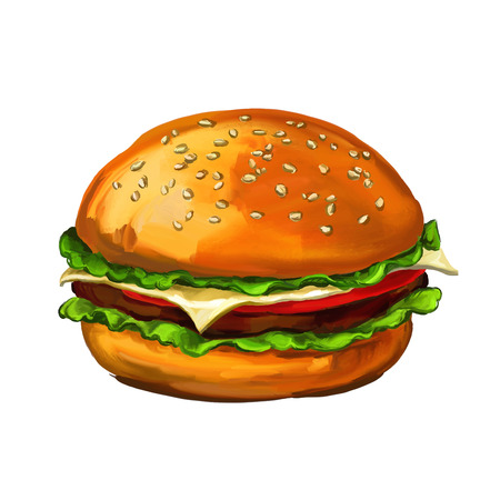 cheese burger: hamburger walnuts vector illustration  hand drawn  painted watercolor