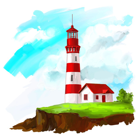 lighthouse vector illustration  hand drawn  painted watercolor