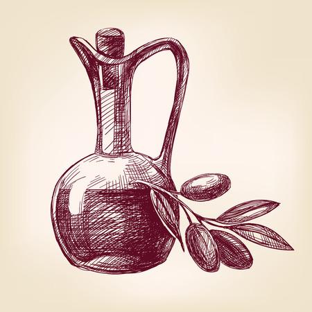 aceite oliva: el aceite de oliva con el bosquejo realista dibujado llustration vector aceitunas mano