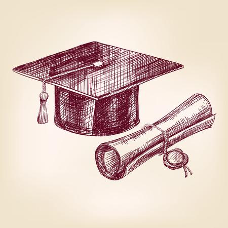 卒業の帽子と卒業証書手描画ベクトル イラストレーションに現実的なスケッチ