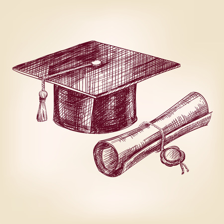 caps: boceto dibujado realista llustration vector gorro de graduación y diploma mano Vectores