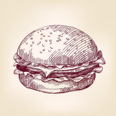ilustracion: boceto dibujado realista llustration vectorial hamburguesa mano Vectores