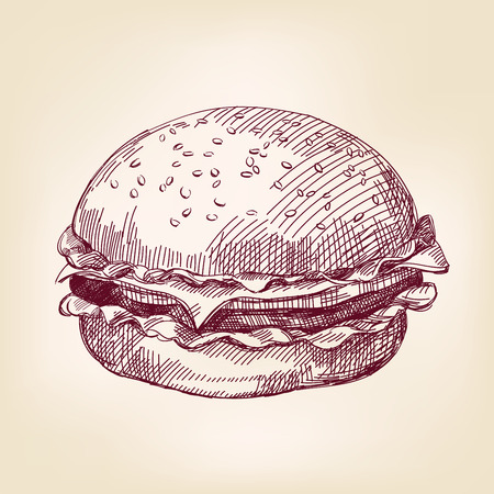 cheese burger: hamburger hand drawn vector llustration realistic sketch Illustration