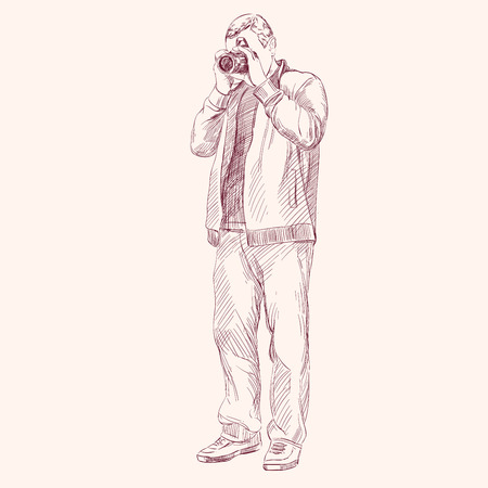 Photographer - hand drawn vector llustration realistic sketch