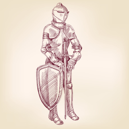 knight armor: knight vintage hand drawn vector llustration realistic sketch