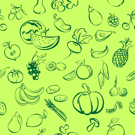 units: fruits and vegetables icon sketch vector illustration seamless texture units