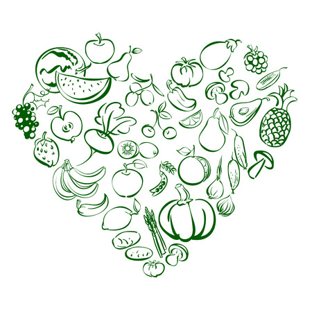 grapes and mushrooms: Heart from food fruits and vegetables icon  sketch vector illustration