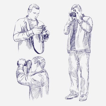 Photographer set - hand drawn vector llustration realistic sketch Illustration