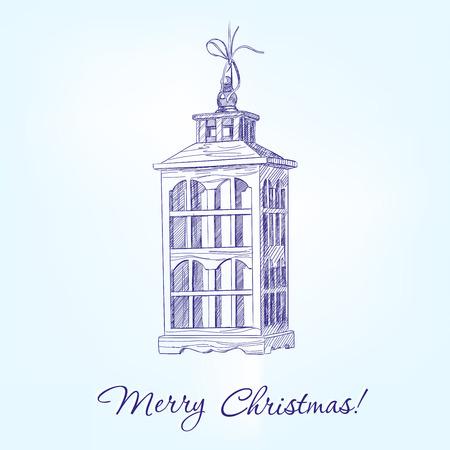 motivos navideños: Esbozo realista dibujado llustration vector de las decoraciones de Navidad vieja lámpara de mano