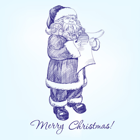 spokesman: Santa Claus reading a letter hand drawn vector llustration realistic sketch