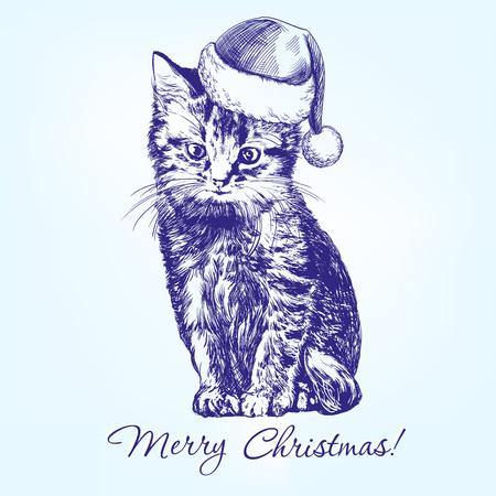hat santa: Christmas kitten in Santa stocking hat hand drawn vector llustration realistic sketch Illustration