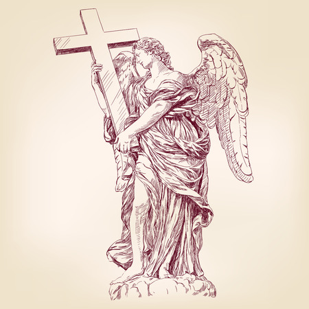 archangel: angel holding a cross hand drawn vector llustration realistic sketch