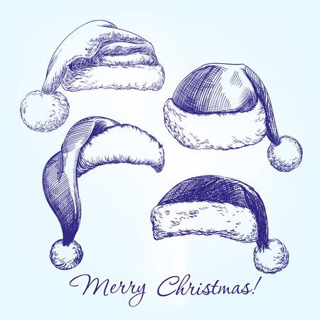 dibujo: Sombrero de Santa media mano set boceto realista dibujado llustration vectorial
