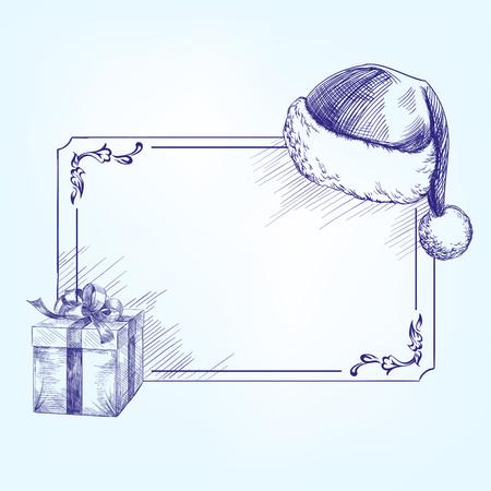 hat santa: Festive Christmas card with Christmas  symbols hand drawn vector llustration  realistic  sketch Illustration