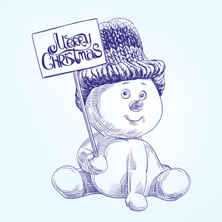 funny christmas: funny christmas snowman   hand drawn vector llustration  realistic  sketch Illustration