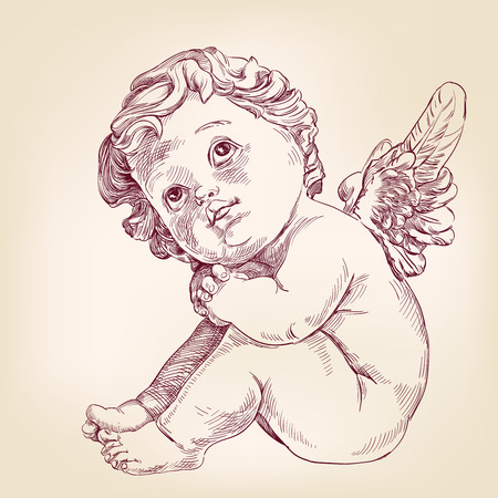 l hand: angel or cupid little baby l hand drawn vector llustration  realistic  sketch