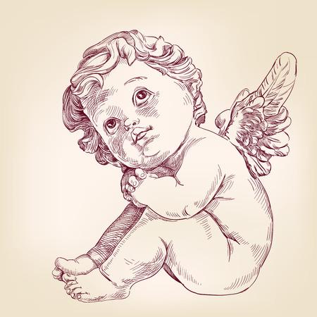 angeles bebe: ángel o pequeño bebé l dibujado a mano llustration vector esbozo realista Cupido Vectores