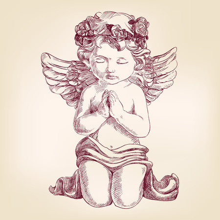 angel prays on his knees hand drawn vector llustration  realistic  sketch Stock Illustratie