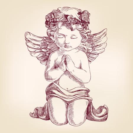 angel de la guarda: ángel reza en sus rodillas dibujado a mano llustration vector esbozo realista