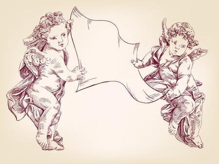 engelen of Cupido houden een leeg vel van berichten geïsoleerde hand getrokken vector llustration realistische schets