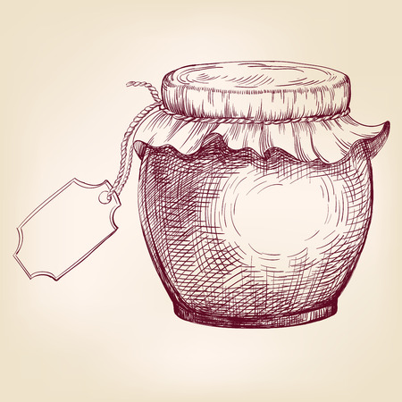 provision: Jars of jam  hand drawn vector llustration realistic sketch