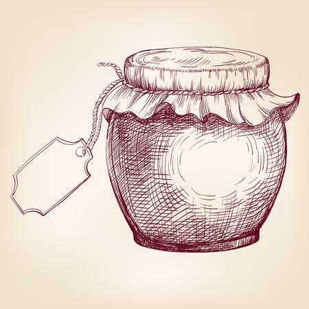 retro illustration: Jars of jam  hand drawn vector llustration realistic sketch