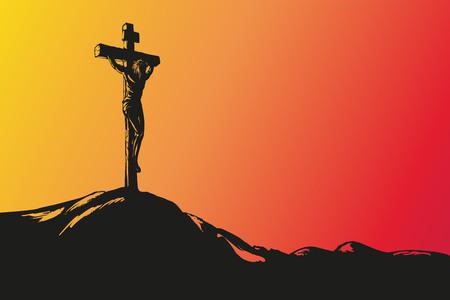Jezus Chrystus ukrzyżowanie wyciągnąć rękę szkic wektor llustration