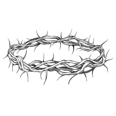 Korona cierni religijnych symbol ręcznie rysowane ilustracji wektorowych szkic Ilustracje wektorowe