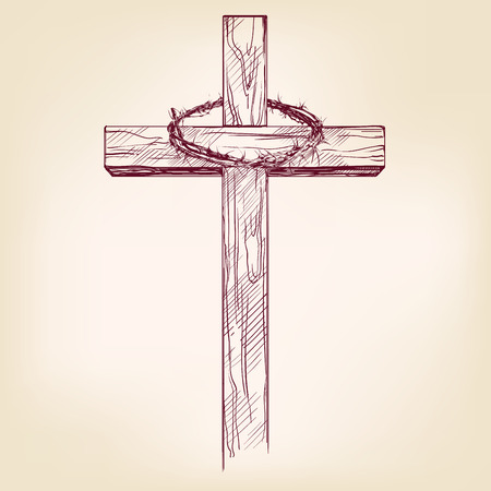 jesus: cross and crown of thorns, a symbol of Christianity hand drawn vector llustration realistic sketch
