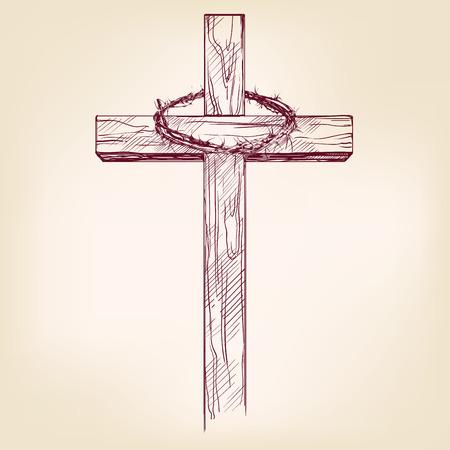 jezus: krzyż i koronę z cierni, symbol chrześcijaństwa wyciągnąć rękę wektor llustration realistyczny szkic