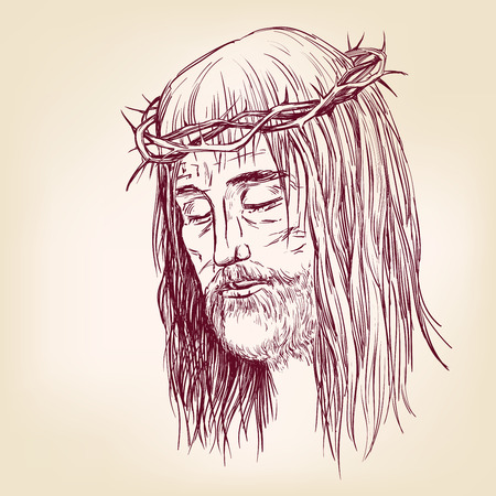 righteous: Jesus Christ, the Son of God in a crown of thorns on his head, a symbol of Christianity hand drawn vector llustration realistic sketch