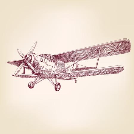 airplane vintage hand drawn vector llustration realistic sketch  イラスト・ベクター素材
