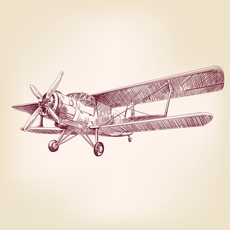 airplane vintage hand drawn vector llustration realistic sketch Иллюстрация