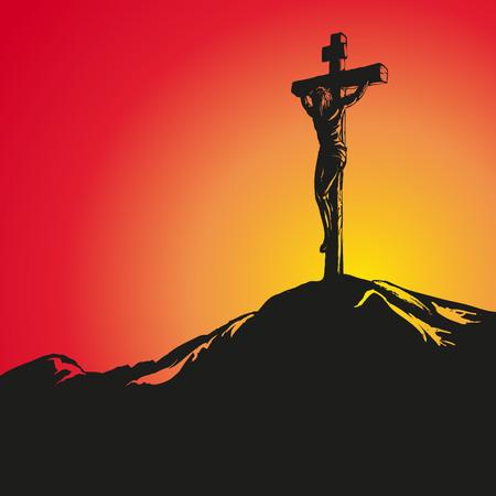 Jesus Christ Crucifiction hand drawn vector illustration sketch  イラスト・ベクター素材