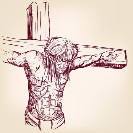jezus: Jezus Chrystus, Syn Boży, w koronie cierniowej na głowie, symbol chrześcijaństwa ręcznie rysowane ilustracji wektorowych realistyczny szkic
