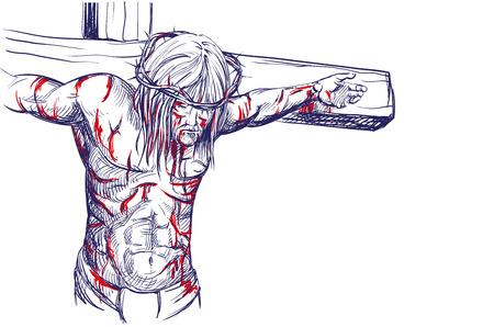 cruz de jesus: ilustración vectorial Jesucristo, el Hijo de Dios en una corona de espinas en la cabeza, un símbolo del cristianismo croquis dibujado a mano realista