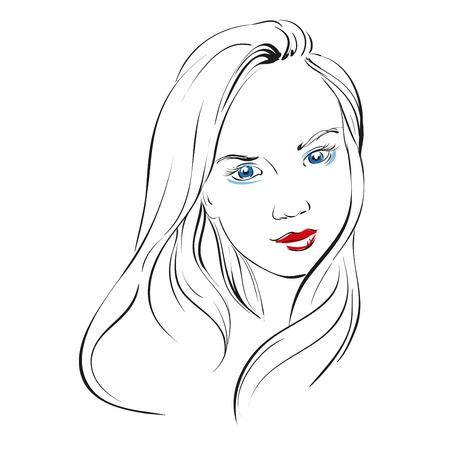 dessin au trait: belle main de visage de femme illustration dessinée croquis Illustration