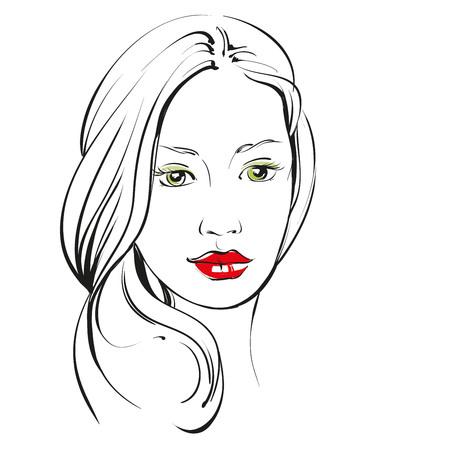 Piękna twarz kobiety ręcznie rysowane ilustracji szkic