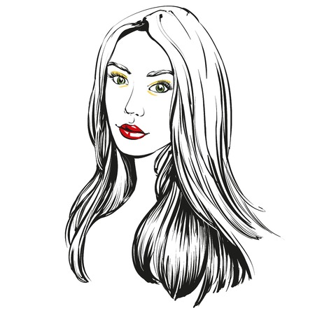 sketch: beautiful woman face hand drawn illustration sketch