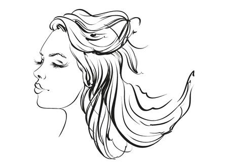 beautiful face: beautiful woman face hand drawn llustration sketch